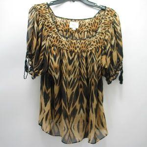 Eci New York Sheer Leopard Animal Print Blouse M